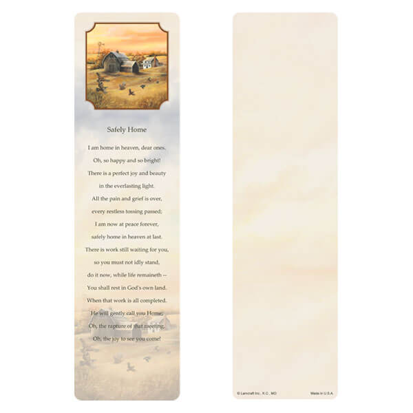 "3"" x 11"" Homestead (Quail) large bookmark, Safely Home"