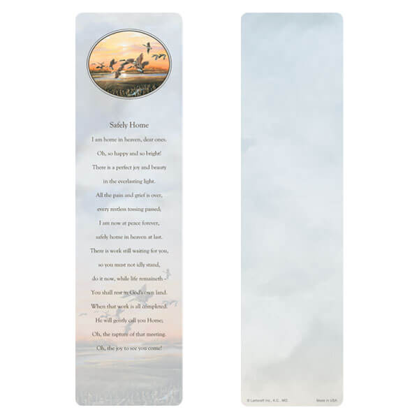 "3"" x 11"" Twilight Geese large bookmark, Safely Home"