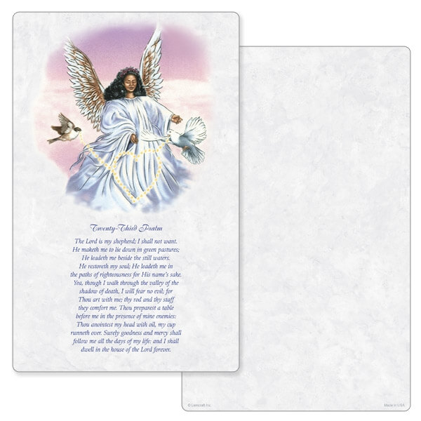 "5"" x 8"" Angel With Dove Junior Album PMC, 23rd Psalm"