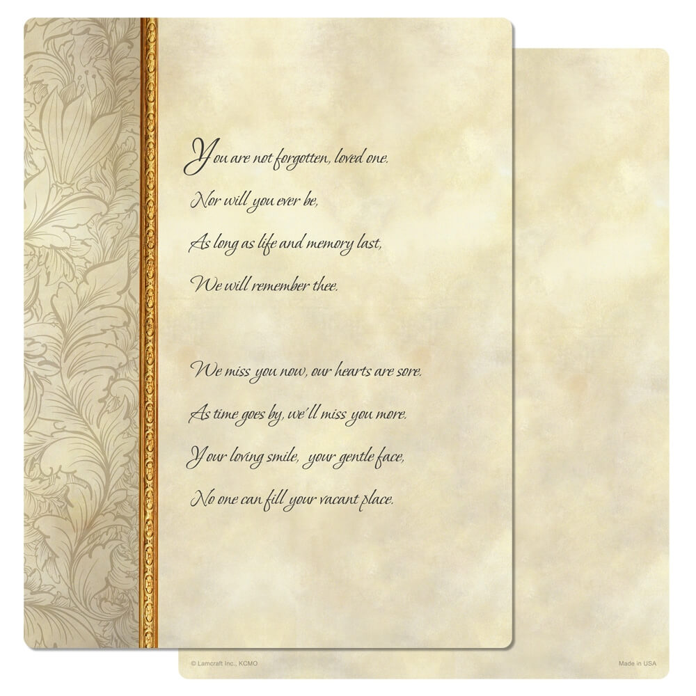 """8-3/4"""" x 11-1/4"""" Antique Border PMC Letter, You Are Not Forgotten"""