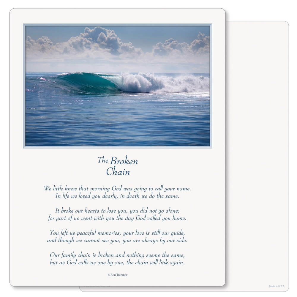 "8-3/4"" x 11-1/4"" Tranquil Ocean PMC Letter, Broken Chain"