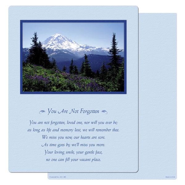 """8-3/4"""" x 11-1/4"""" Nature's Majesty PMC Letter, You Are Not Forgotten"""