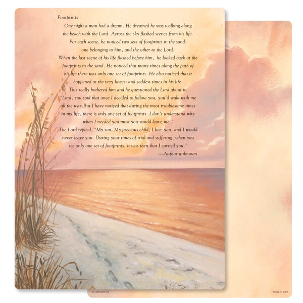 "8-3/4"" x 11-1/4"" Footprints PMC Letter, Footprints verse"