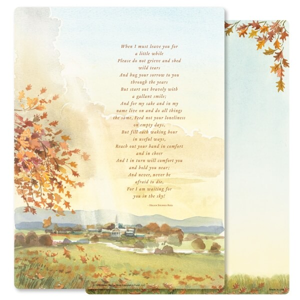 "8-3/4"" x 11-1/4"" Meadow PMC Letter, When I Must Leave You"