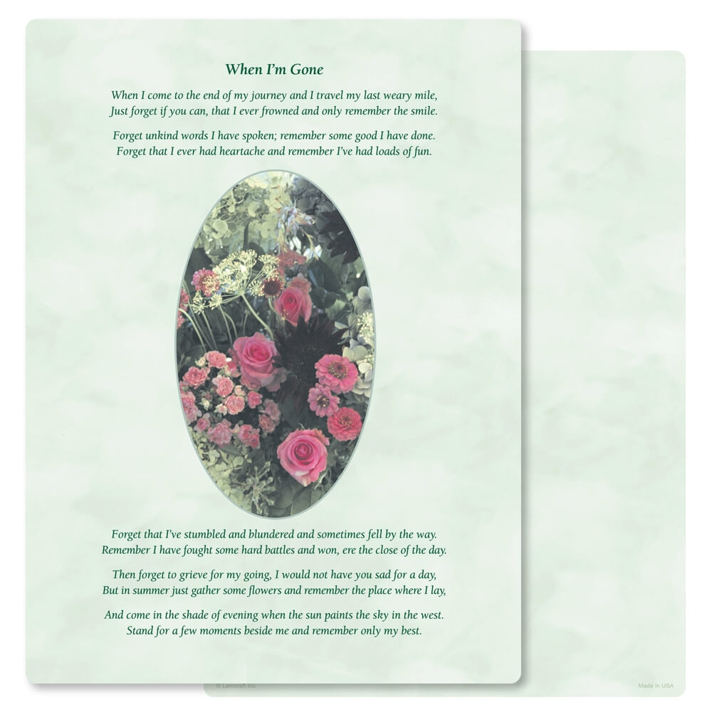 "8-3/4"" x 11-1/4"" Floral Garden PMC Letter, When I'm Gone"