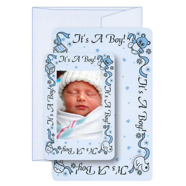 """It's a Boy!"" Birth Announcement Card with Matching Envelope"