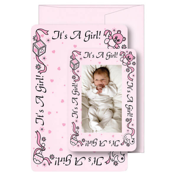"""It's a Girl!"" Birth Announcement Card with Matching Envelope"