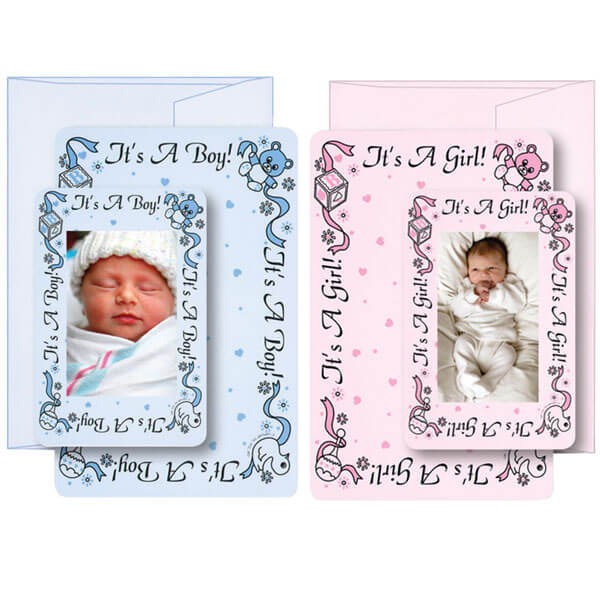 "Combination ""It's a Boy"" and ""It's a Girl"" Birth Announcement Cards with Matching Envelopes"