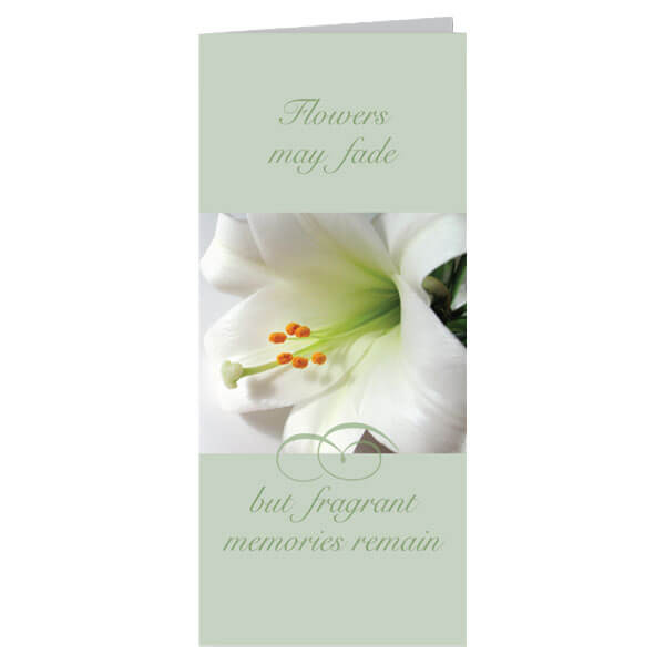 "4-1/8"" x 9-1/8"" Small Lily Presentation Card, White Envelope"