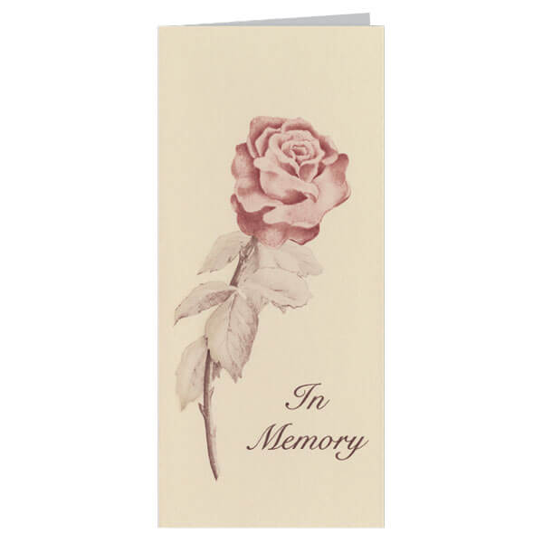 "4-1/8"" x 9-1/8"" Small Rose Presentation Card, Tan Envelope"