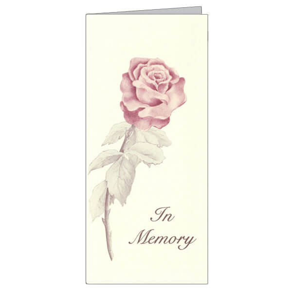 "4-1/8"" x 9-1/8"" Small Rose Presentation Card, Soft White Envelope"