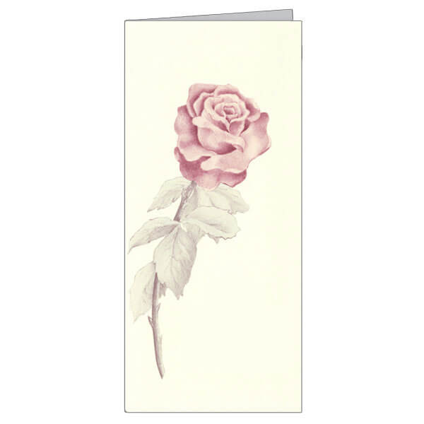 "4-1/8"" x 9-1/8"" Small Rose Presentation Card, Soft White Envelope, No Text"