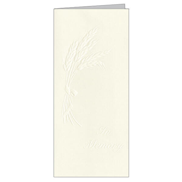 "4-1/8"" x 9-1/8"" Small Embossed Wheat Presentation Card, Soft White Envelope"
