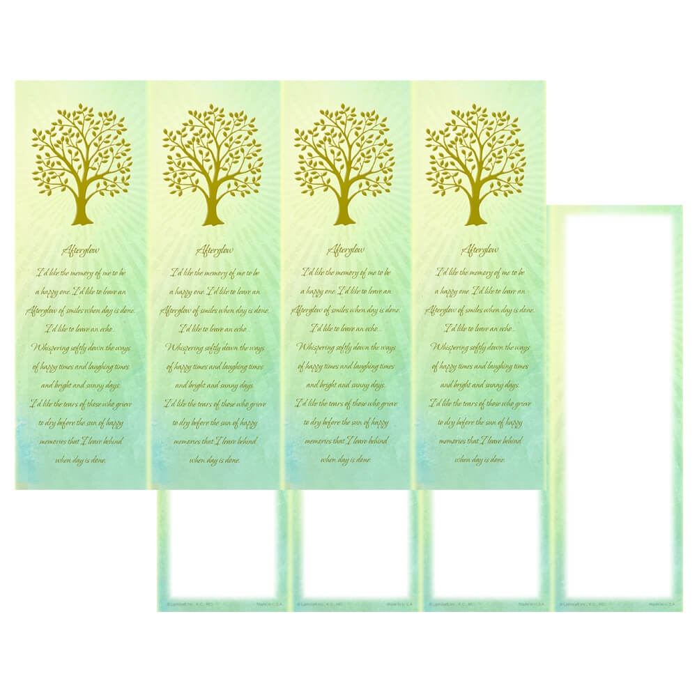 4-up Radiant Tree of Life Micro-Perf Bookmark, Afterglow verse