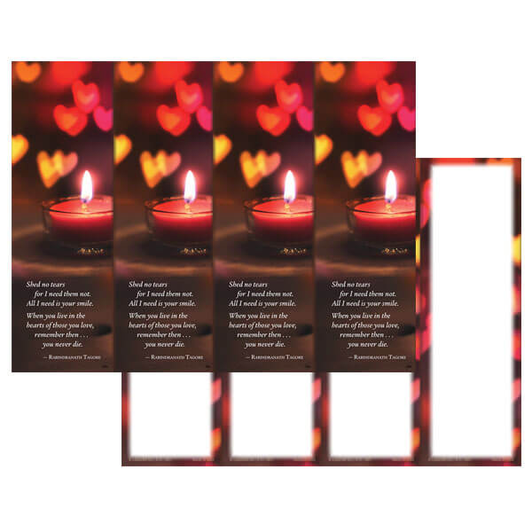 4-up Heart Candle Micro-Perf Bookmark, Shed No Tears