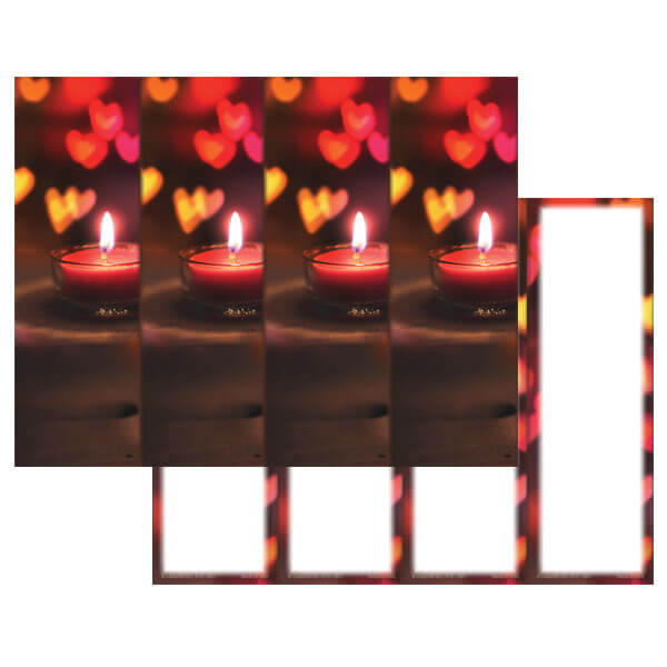 4-up Heart Candle Micro-Perf Bookmark, No Verse