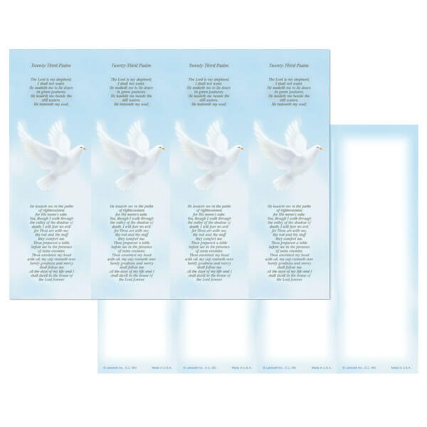 4-up Dove Micro-Perf Bookmark, 23rd Psalm