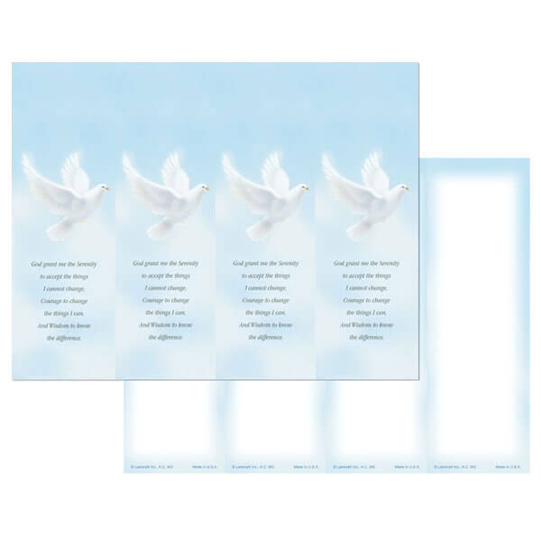 4-up Dove Micro-Perf Bookmark, Serenity Prayer