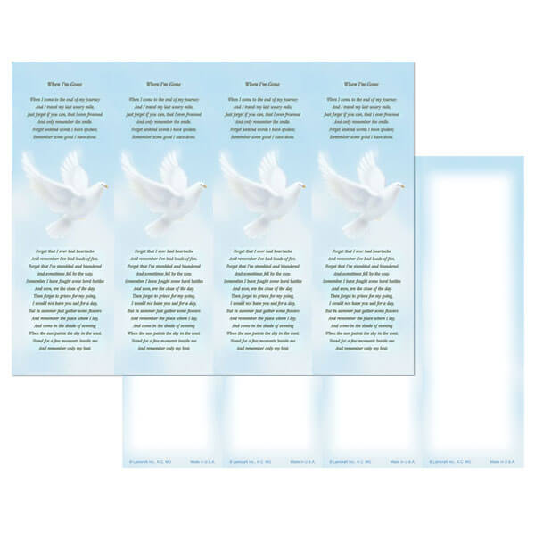 4-up Dove Micro-Perf Bookmark, When I'm Gone