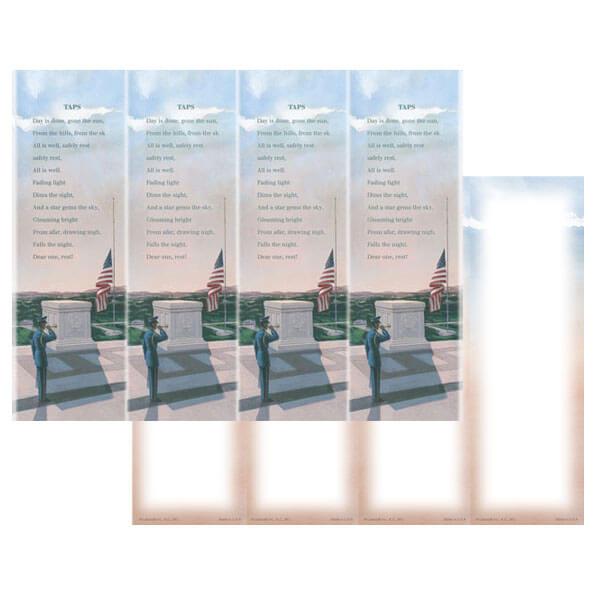 4-up Veteran's Micro-Perf Bookmark, Taps