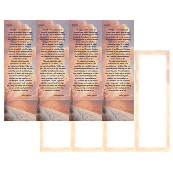 4-up Footprints Micro-Perf Bookmark, Footprints verse