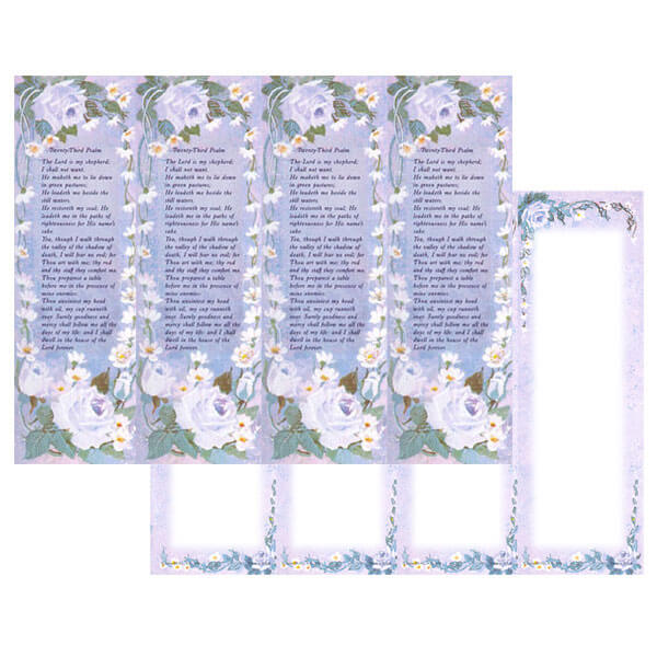 4-up Rose-Lavender Micro-Perf Bookmark, 23rd Psalm