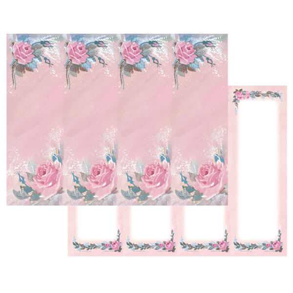 4-up Rose-Rose Micro-Perf Bookmark, No Verse