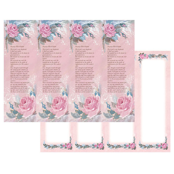 4-up Rose-Rose Micro-Perf Bookmark, 23rd Psalm