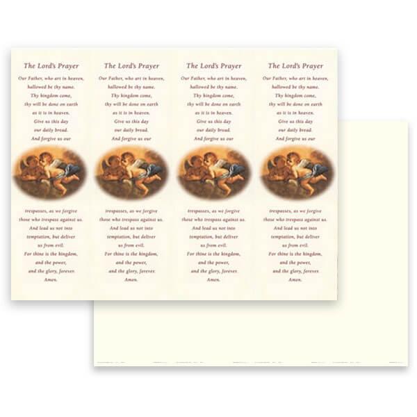 4-up Cherubs Micro-Perf Bookmark, Lord's Prayer