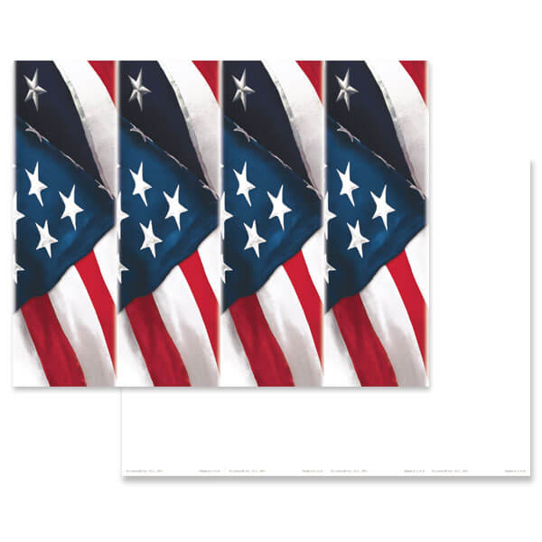 4-up United States Flag Micro-Perf Bookmark, No Verse