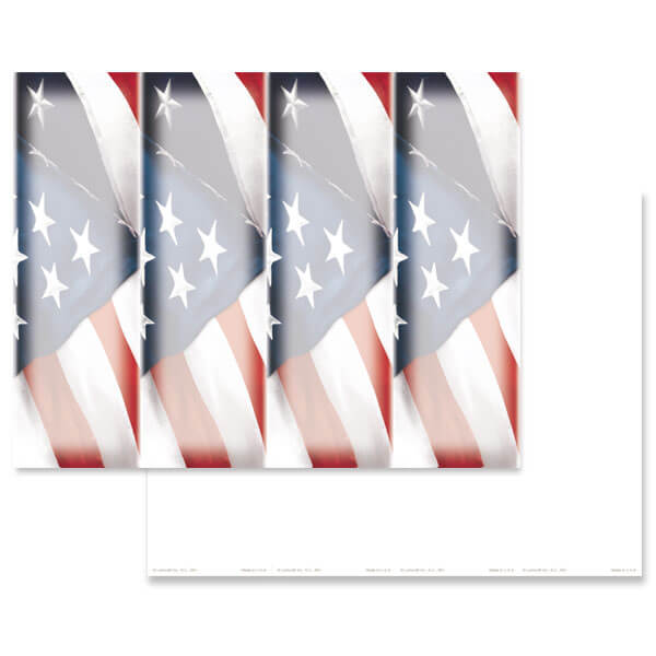 4-up Imprintable U.S. Flag Micro-Perf Bookmark, No Verse