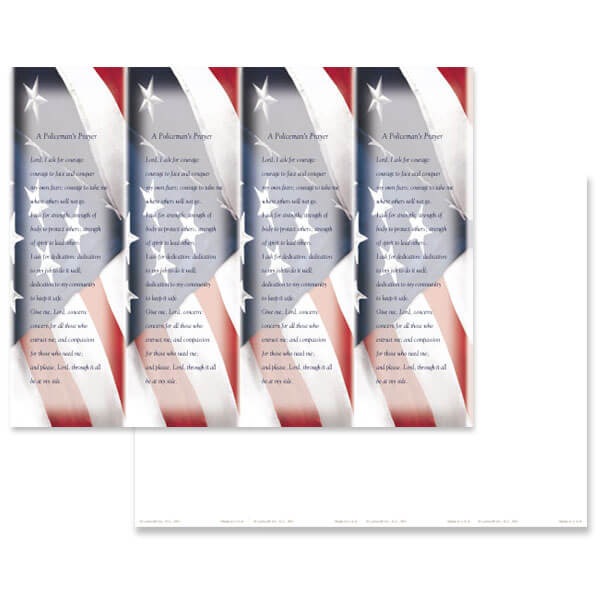 4-up Imprintable U.S. Flag Micro-Perf Bookmark, Policeman's Prayer