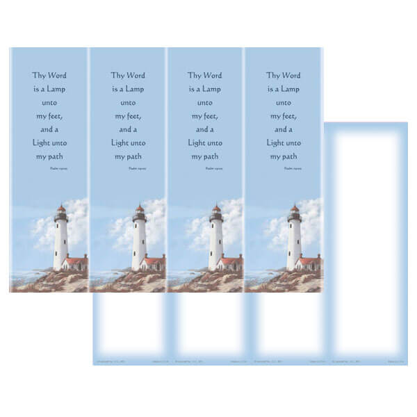 4-up Lighthouse Micro-Perf Bookmark, Psalm 119:105