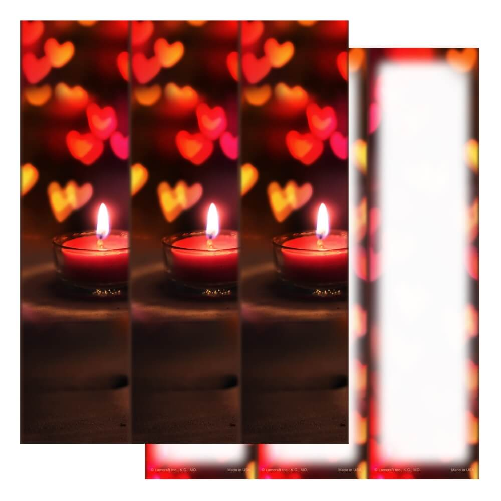 3-up Heart Candle Micro-Perf, No Verse