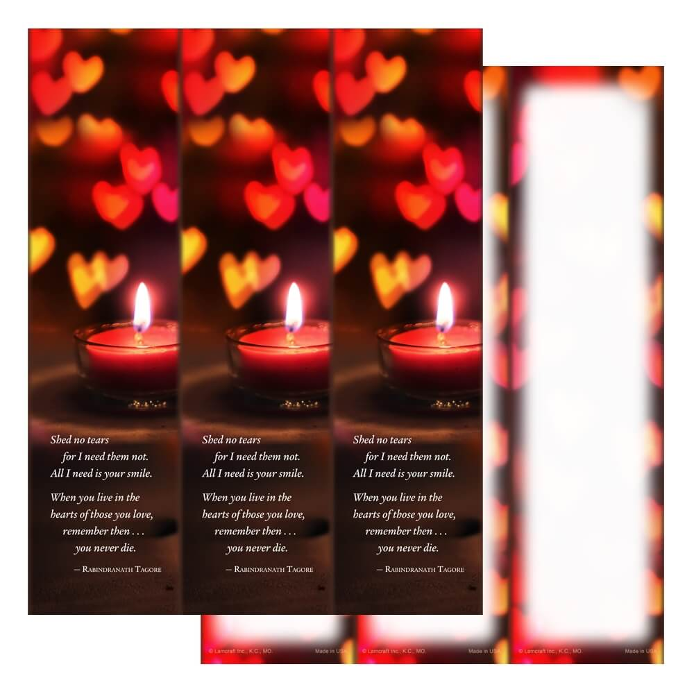 3-up Heart Candle Micro-Perf, Shed No Tears verse