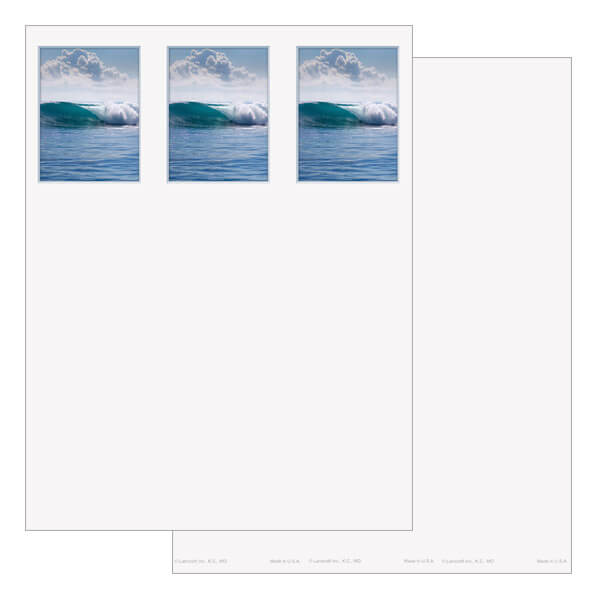 3-up Tranquil Ocean Micro-Perf Bookmark, No Verse