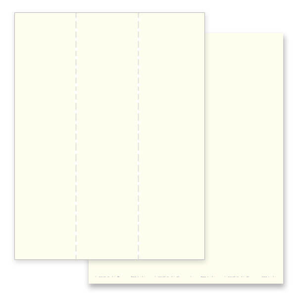 3-up Ivory, Plain Stock Micro-Perf Bookmark, No Verse