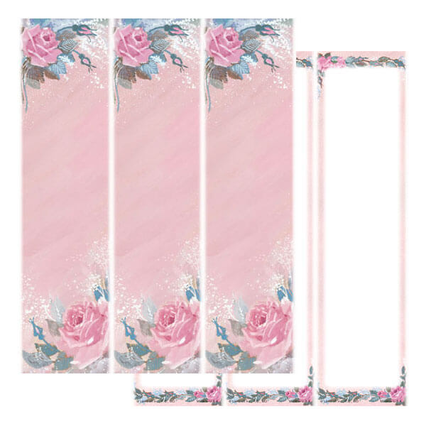 3-up Rose-Rose Micro-Perf Bookmark, No Verse