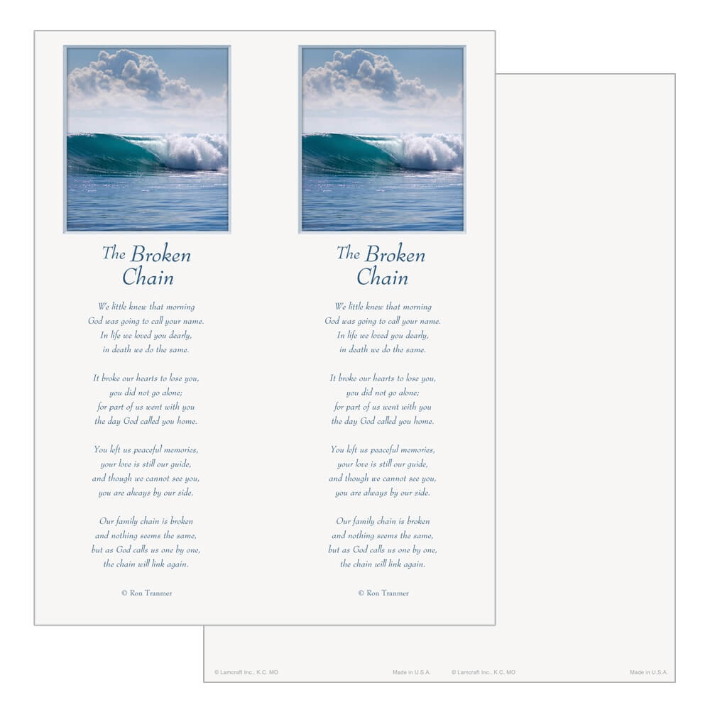 2-up Tranquil Ocean Micro-Perf Bookmark, Broken Chain verse