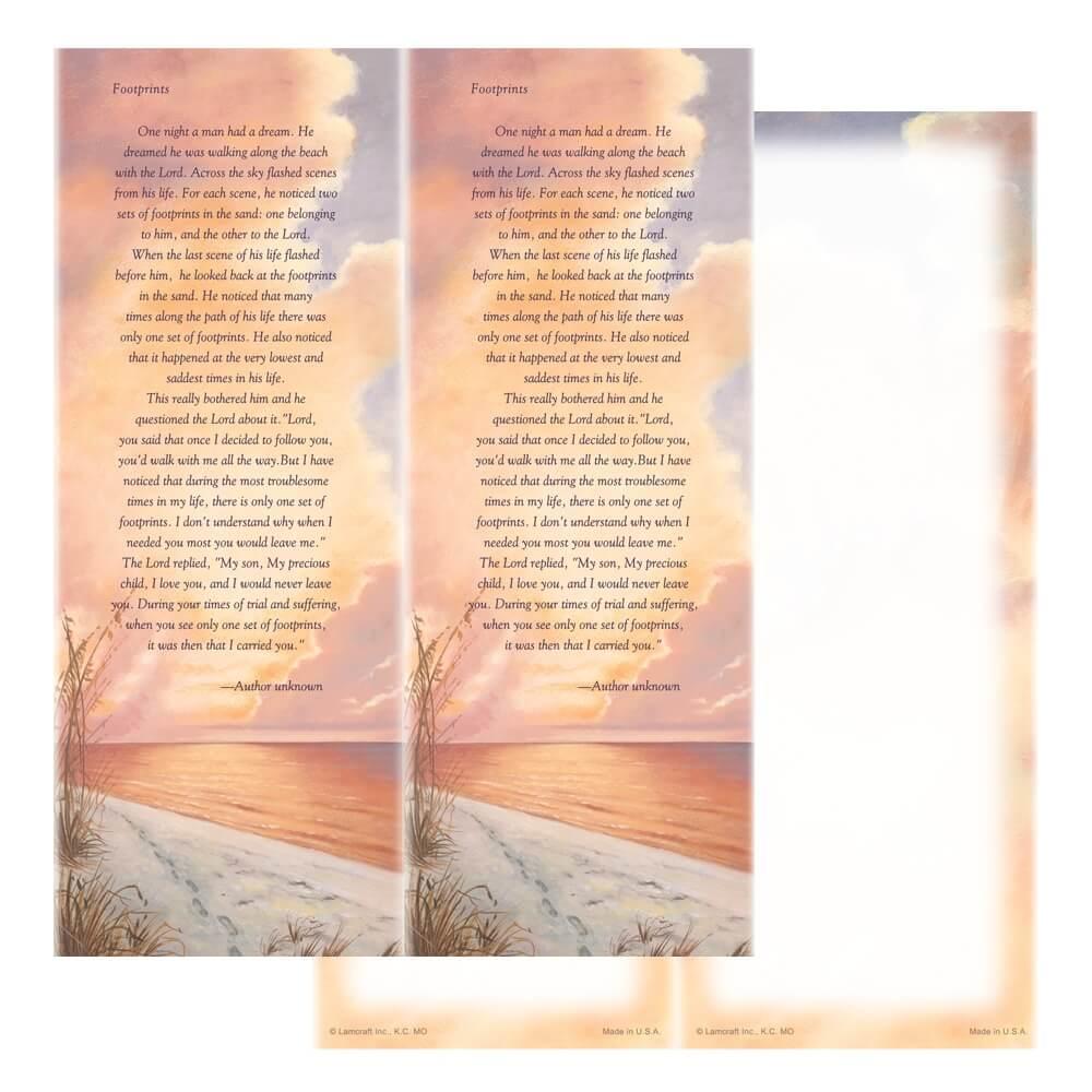 2-up Footprints Micro-Perf Bookmark, Footprints verse