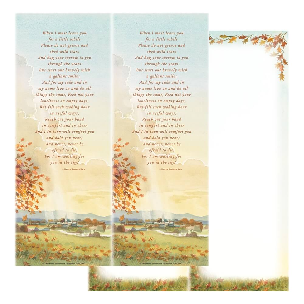 2-up Meadow Micro-Perf Bookmark, When I Must Leave You