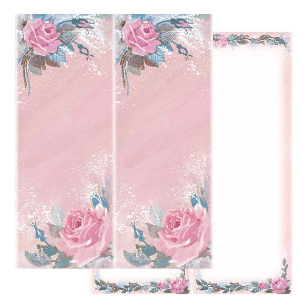2-up Rose-Rose Micro-Perf Bookmark, No Verse