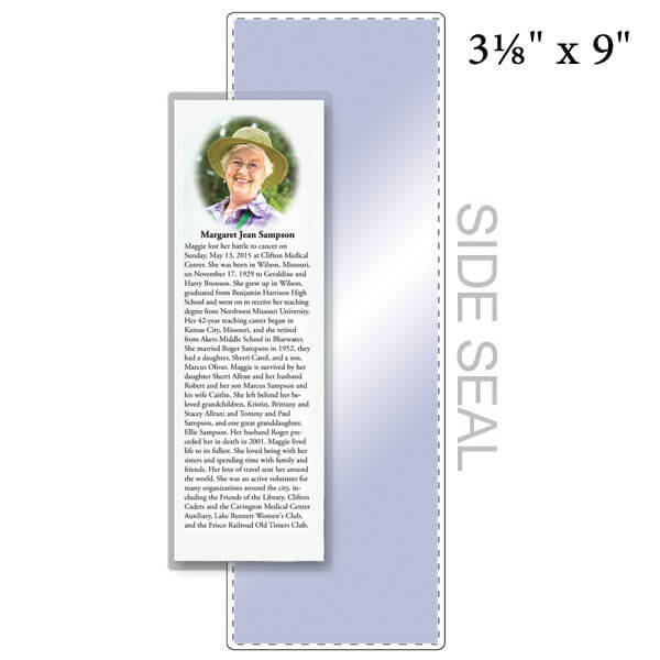 """3-1/8"""" x 9"""" Bookmark Pouch, SIDE SEAL - 5 Mil"""