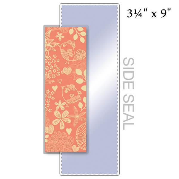 """3-1/4"""" x 9"""" Bookmark Pouch, SIDE SEAL - 5 Mil"""