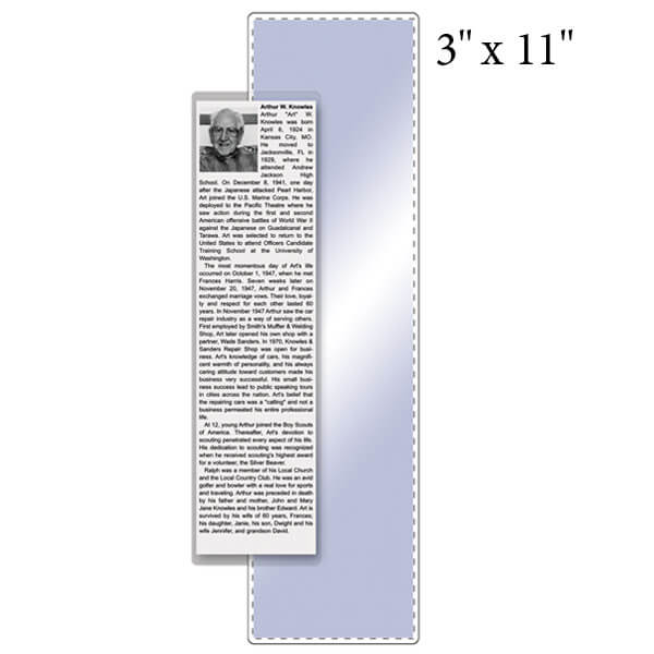 """3"""" x 11"""" Bookmark Pouch - 5 Mil"""