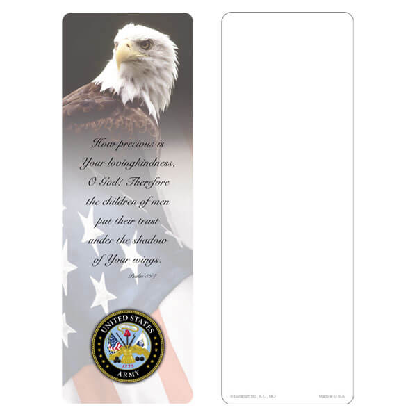 "3"" x 9"" Eagle & U.S. Flag bookmark, Army Emblem, Psalm 36:7"