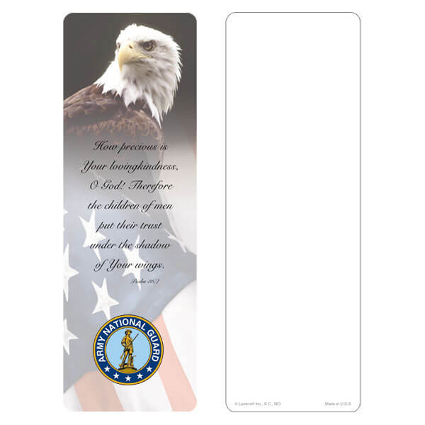 "3"" x 9"" Eagle & U.S. Flag bookmark, Army National Guard Emblem, Psalm 36:7"