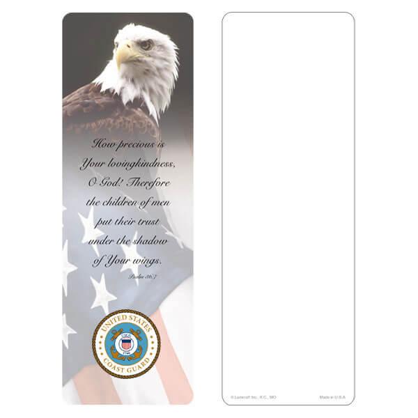 "3"" x 9"" Eagle & U.S. Flag bookmark, Coast Guard Emblem, Psalm 36:7"