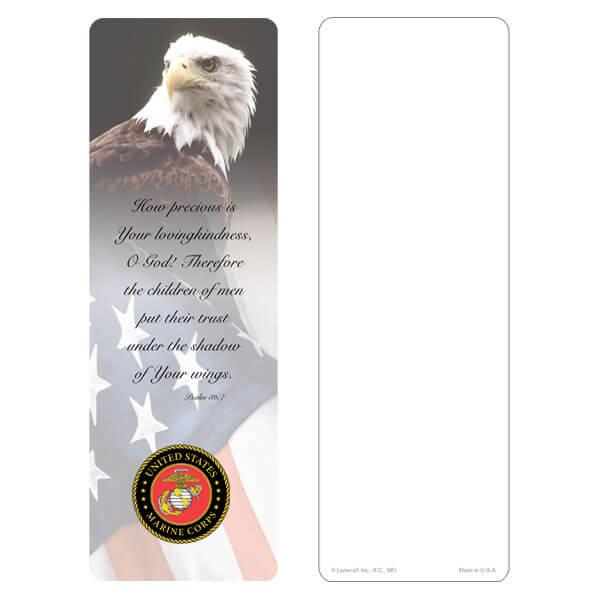 "3"" x 9"" Eagle & U.S. Flag bookmark, Marines Emblem, Psalm 36:7"