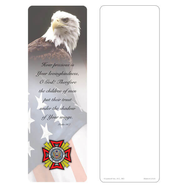 "3"" x 9"" Eagle & U.S. Flag bookmark, VFW Emblem, Psalm 36:7"